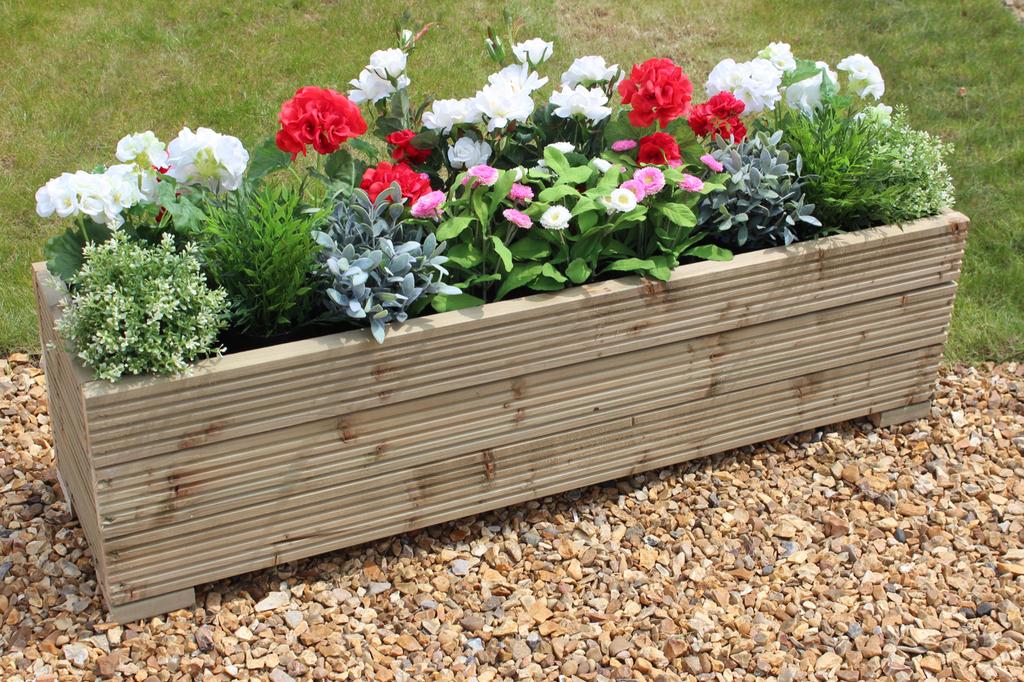Large wooden garden planter trough 150cm length decking for Wooden garden planters