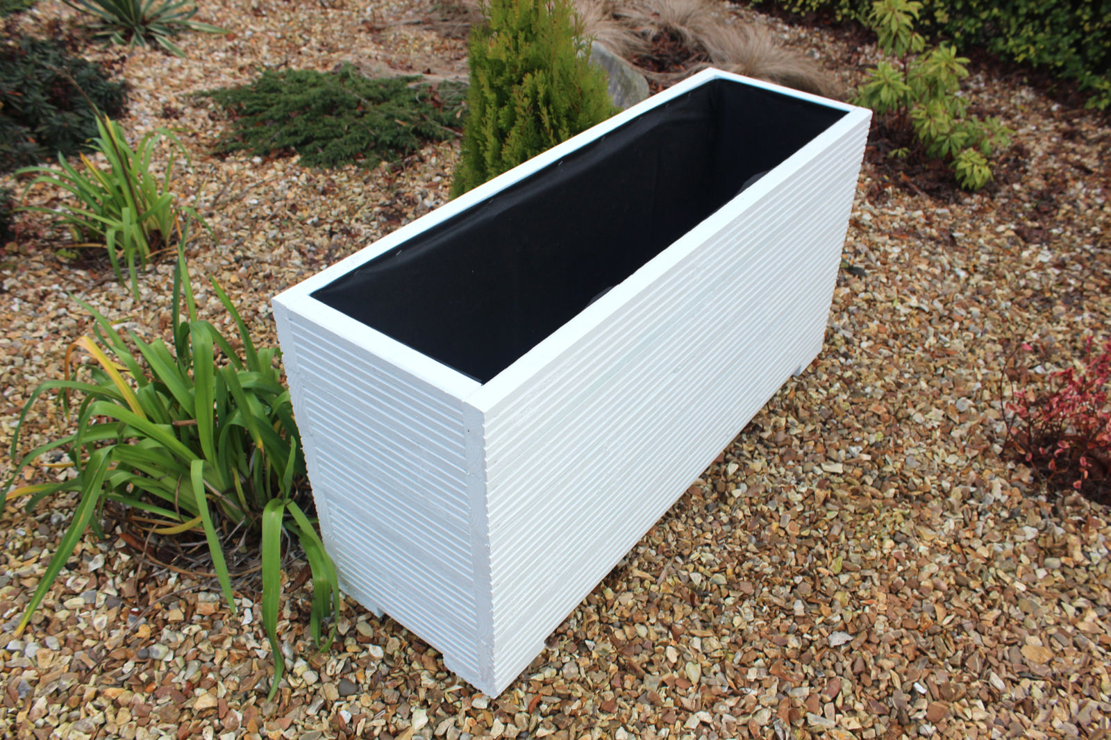 1 metre large wooden garden planter trough painted in for Garden decking planters