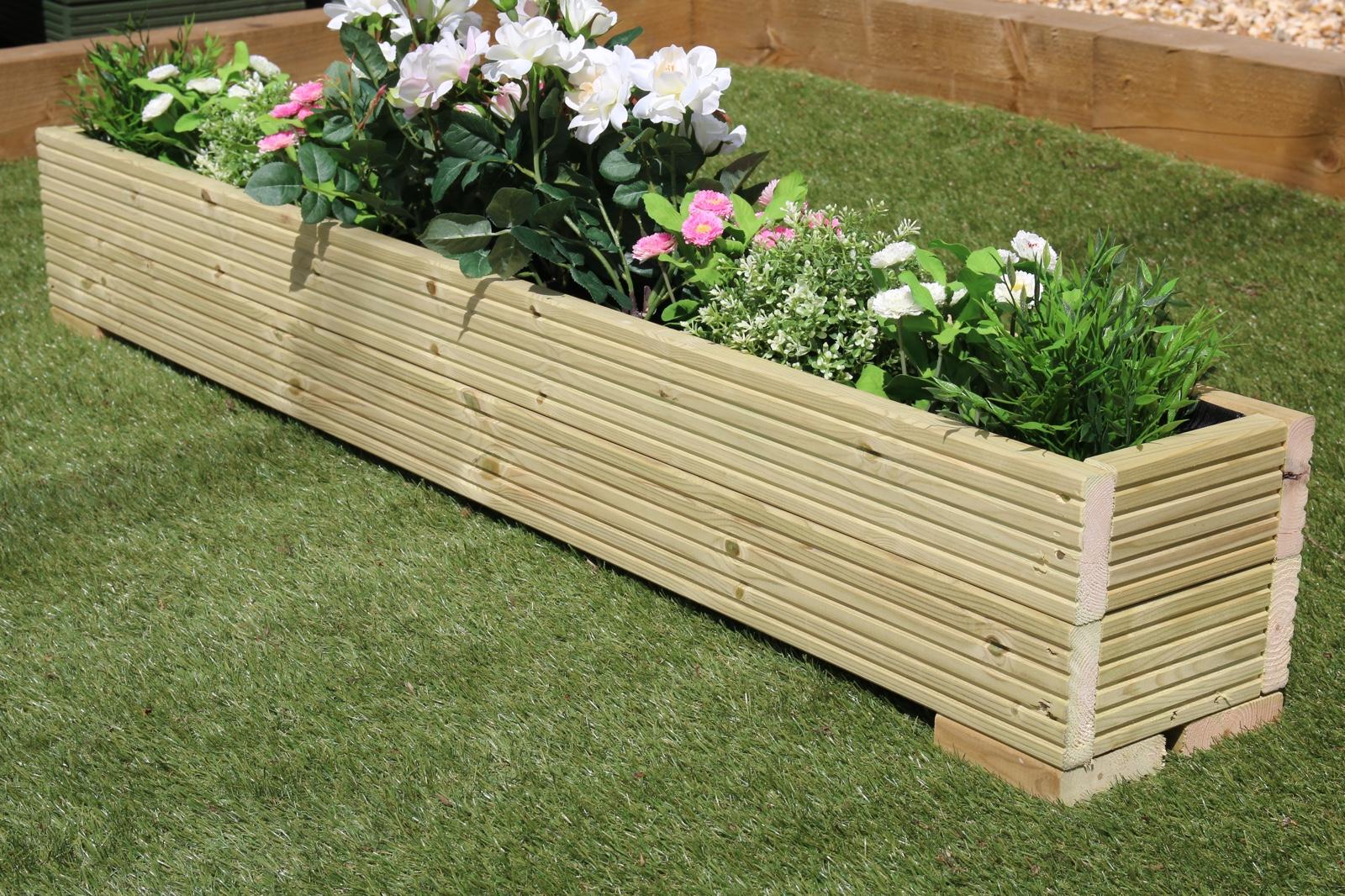 Large wooden garden planter trough painted in cuprinol for Wooden garden planters