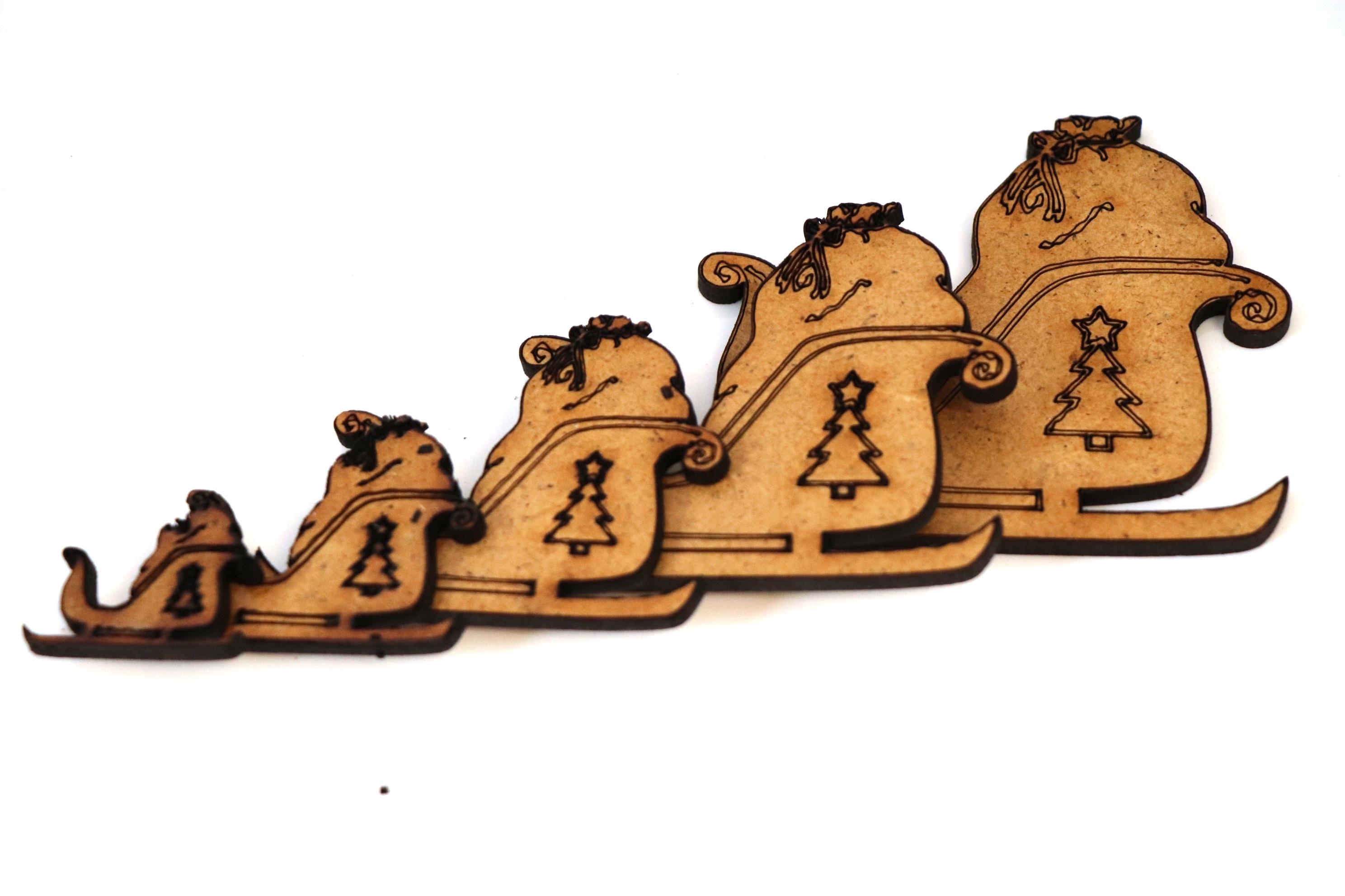 Wooden MDF Santa Shapes Xmas Bunting Craft Embellishments Christmas Decoration